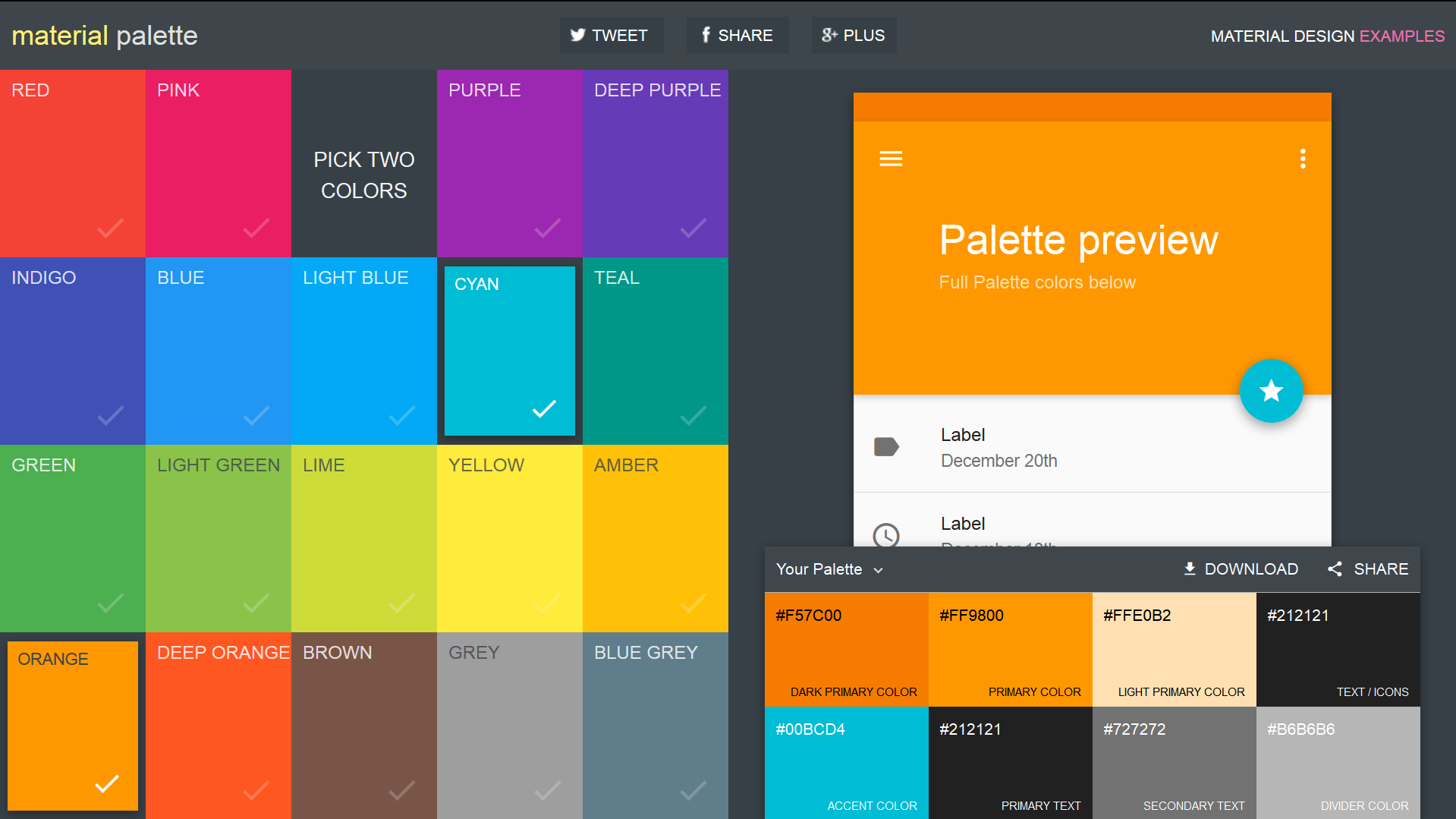 Materialpalette.com  material design color generator Material Palette  Preview