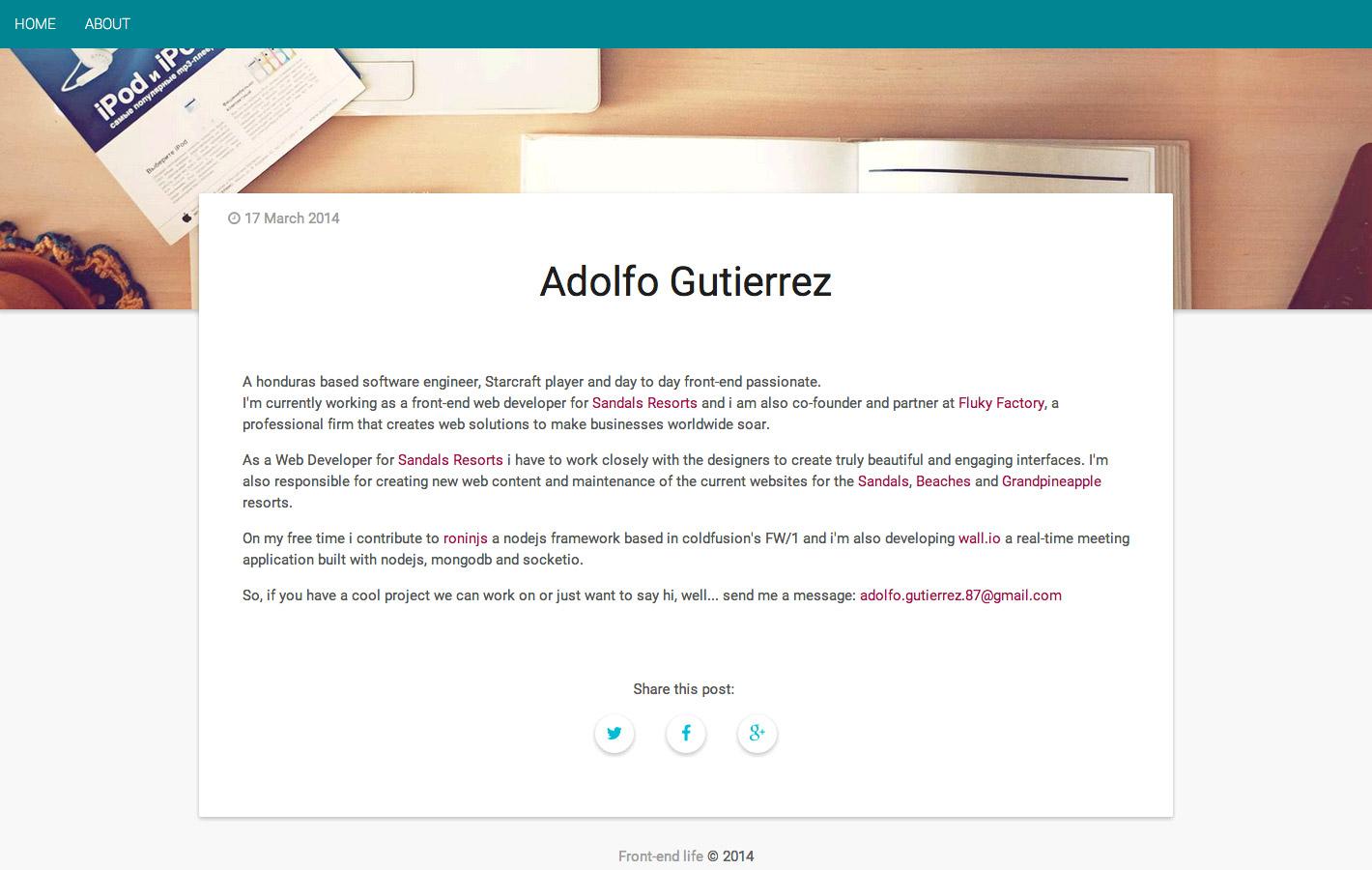 Material Design portfolio  by Adolfo Gutierrez
