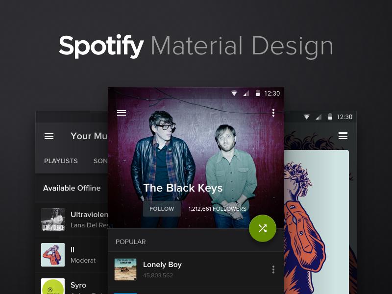 Spotify Material Design by Anton Kovalev