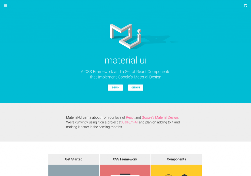 Material-UI - a CSS framework based on Google's Material design