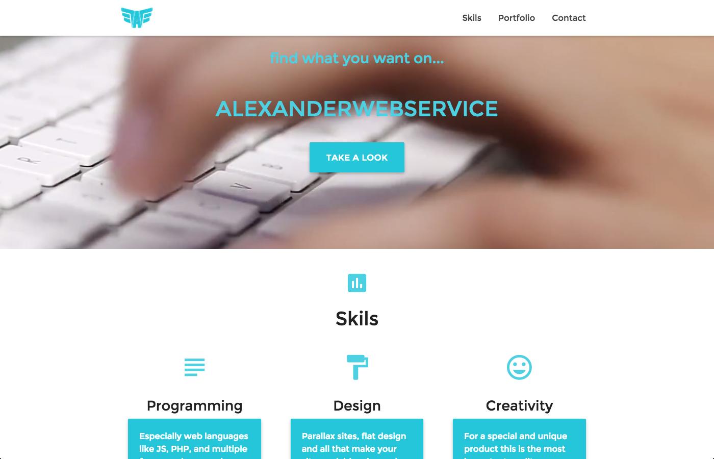 Material design portfolio website by Alexander web service