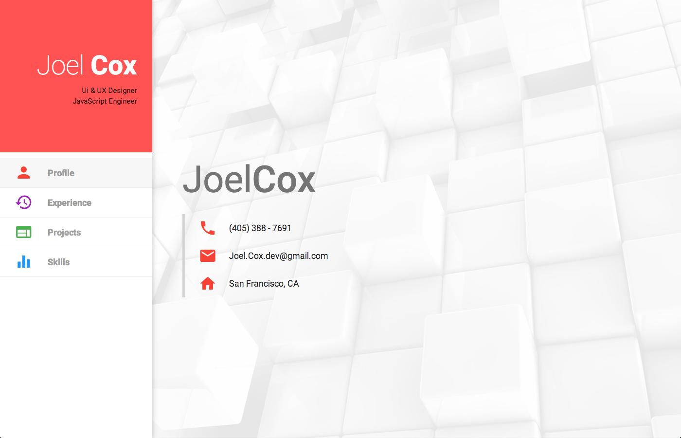 Material design portfolio website by Joel Cox