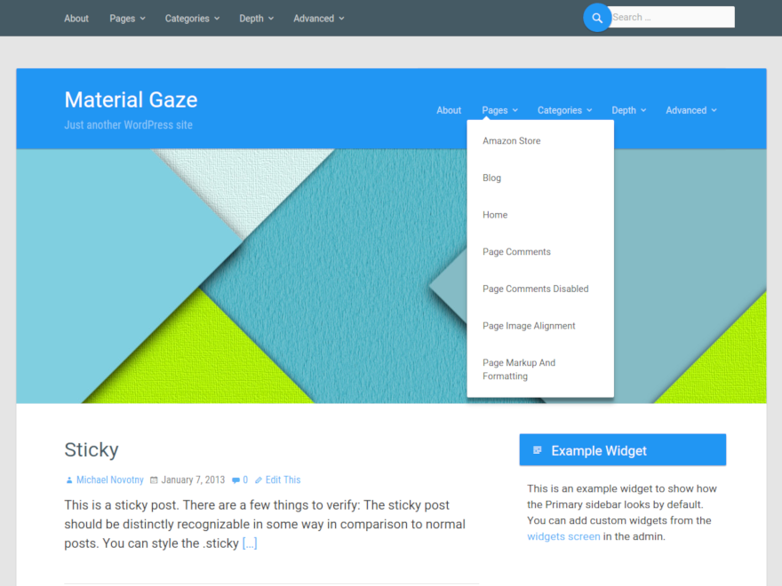 Material Gaze - WordPress theme based on material design