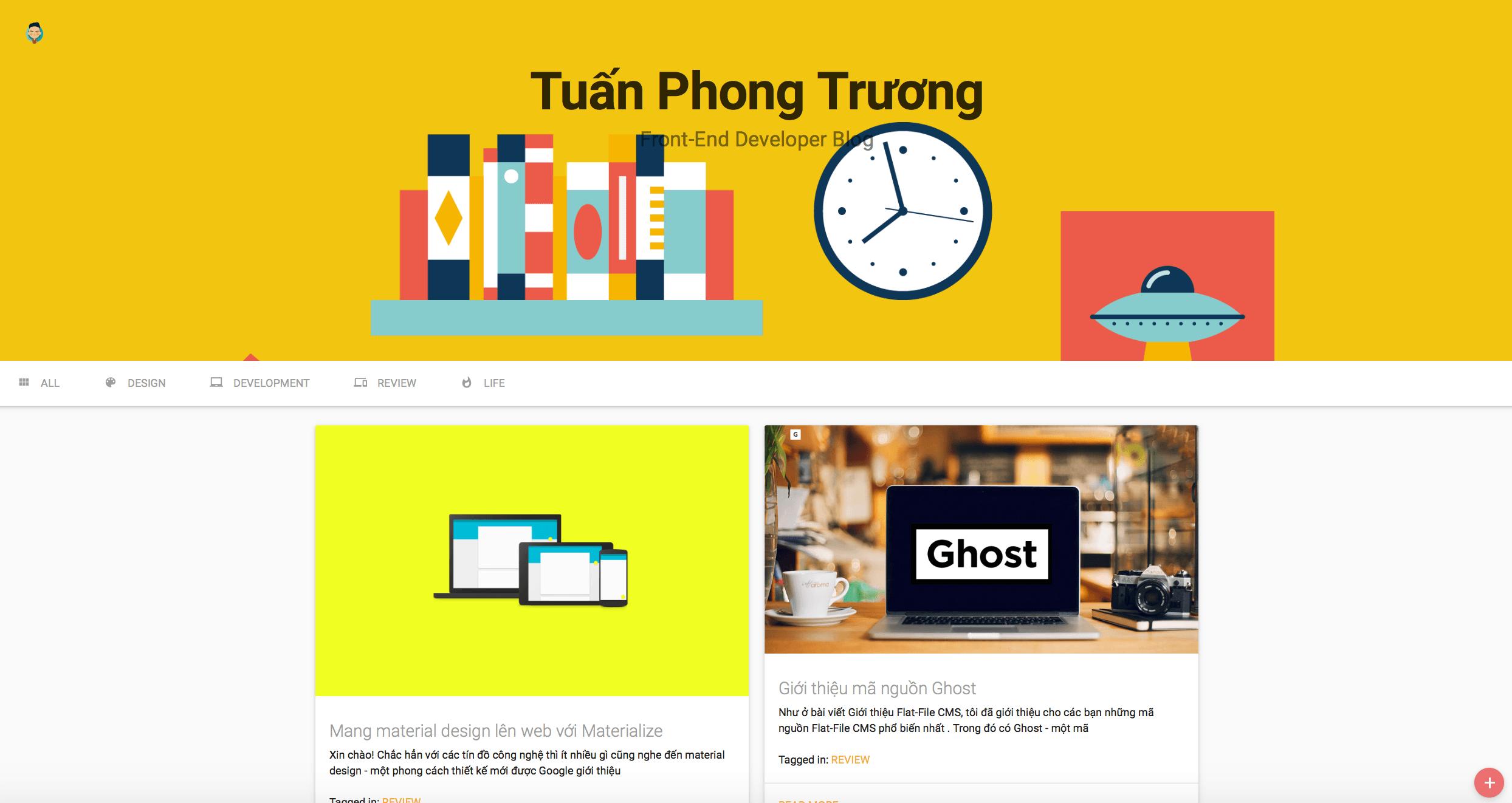 Material design based, portfolio website by Tuấn Phong Trương