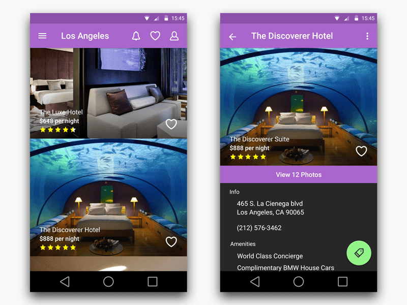 Hotel search app for android with material design for Hotel search