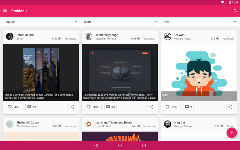 Droidddle-material-design-app