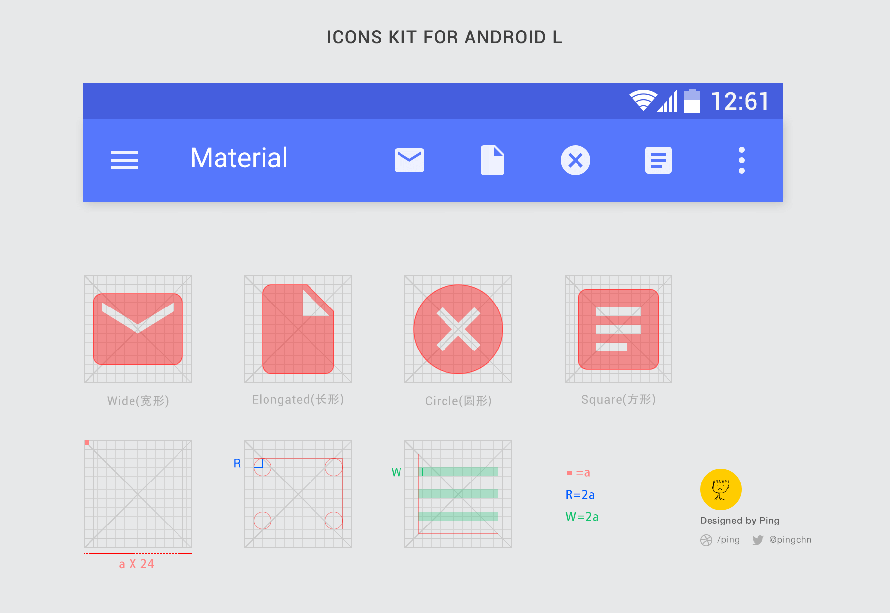 Top 10 free material design psd templates and ui kits android grid icon kit free psd template ccuart Image collections