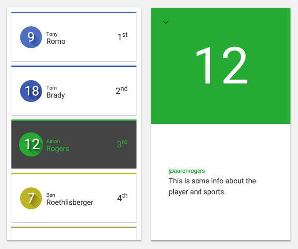 Material Design Cards Example