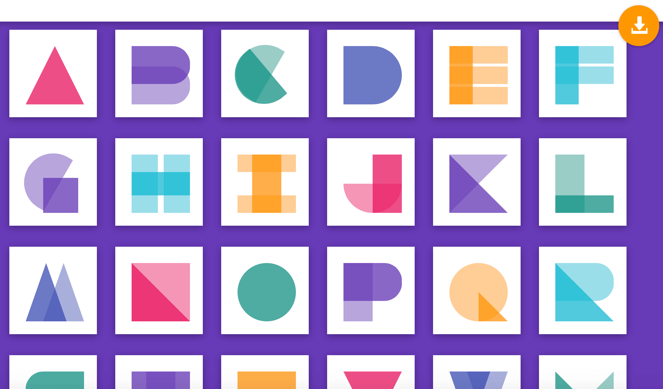 material design alphabets in css by grapestheme material letters