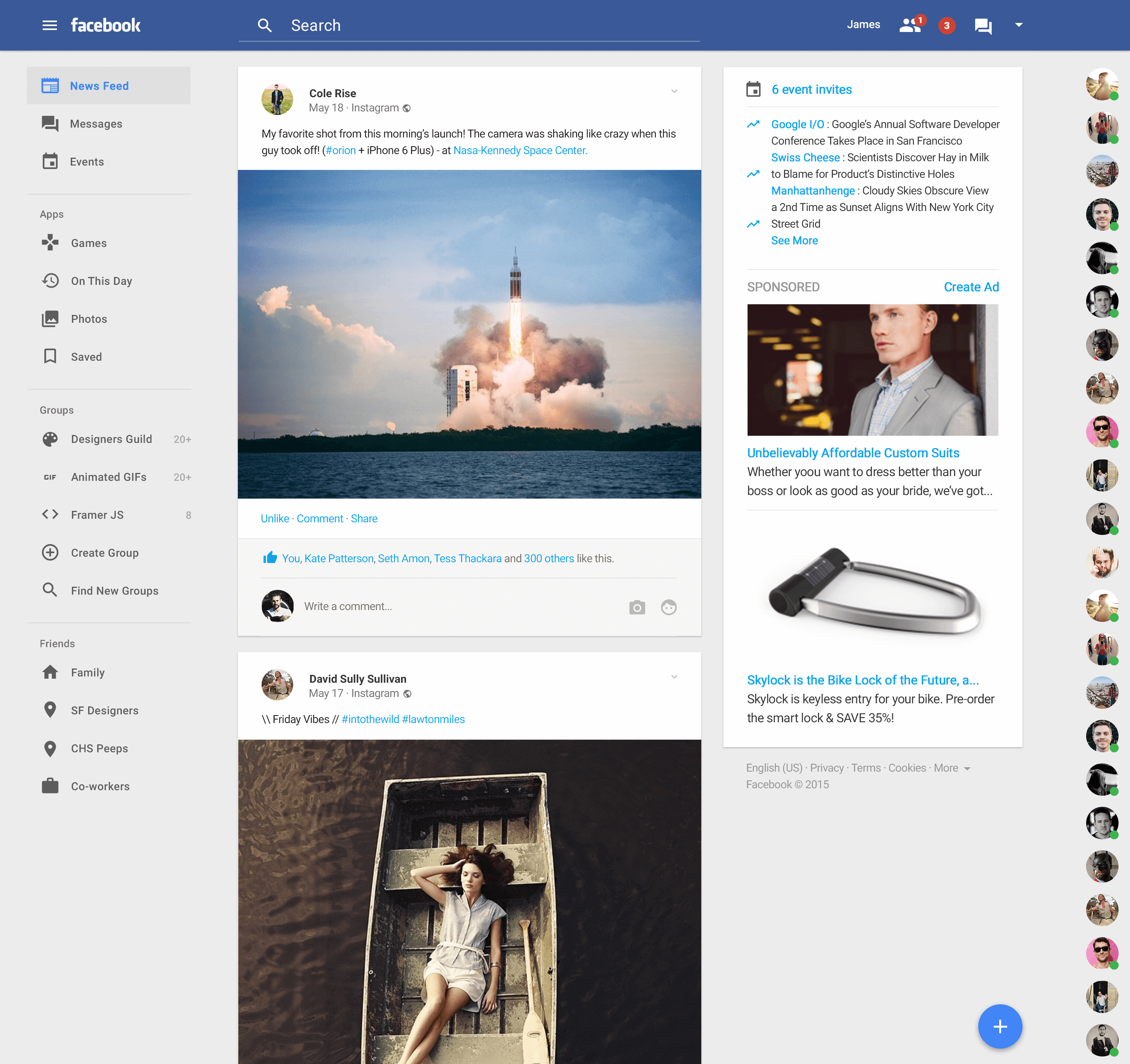 Facebook gets material design facelift in this new concept for Home design ideas facebook