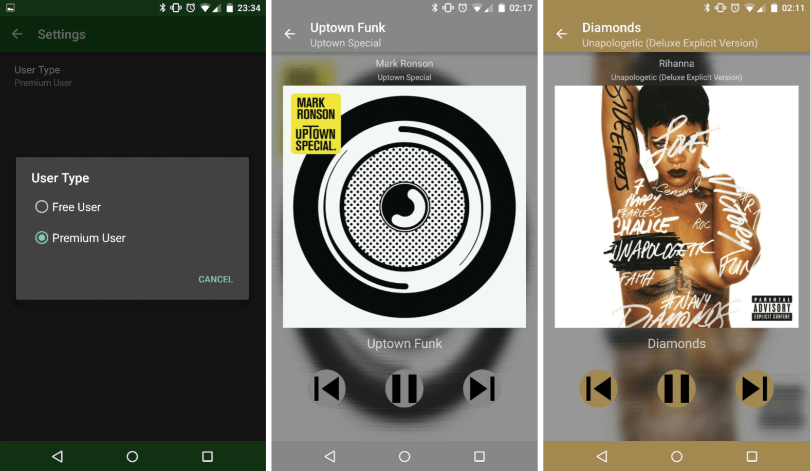 Material Design music player for Android that utilizes Spotify API