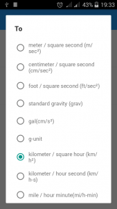 Measurement units chooser dialog