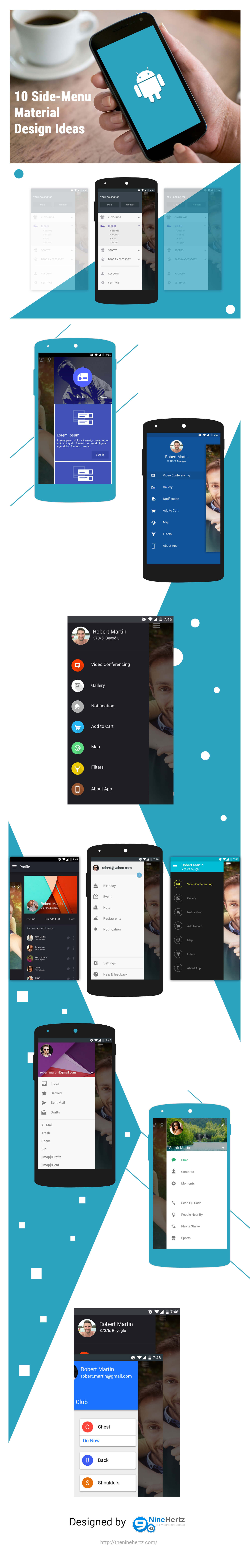 10 side menu material design ui ideas