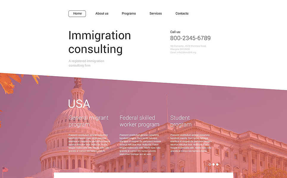 Immigration Consulting Website Template