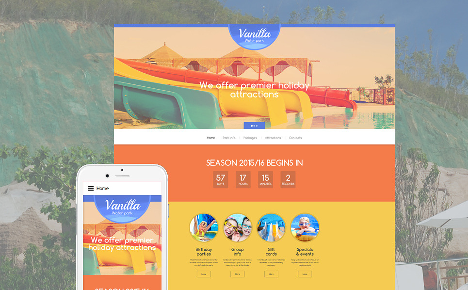 Vanilla Water Park Website Template