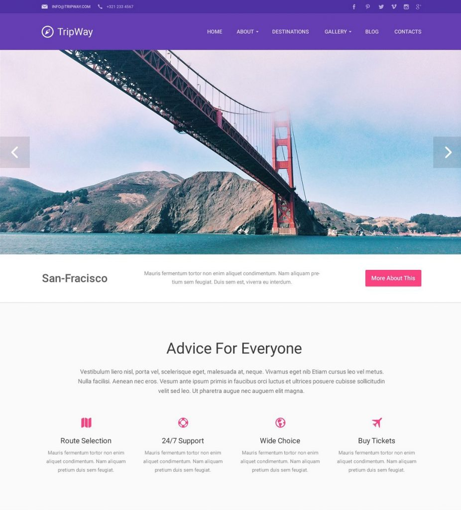 The Look at TripWay - Material Travel Agency Responsive WordPress Theme